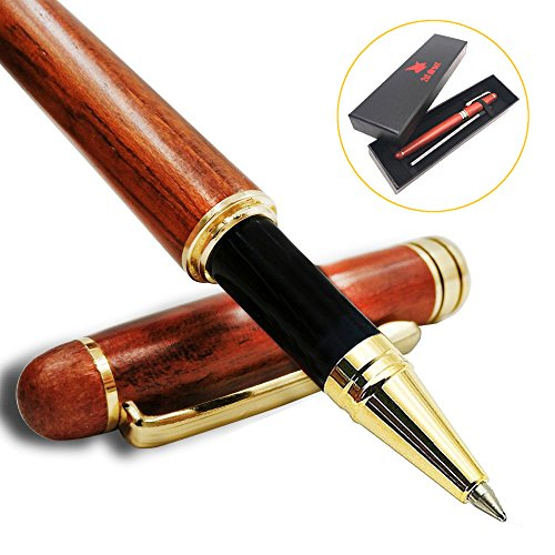 Ballpoint Pen in Gift Box, Natural Handcrafted Rosewood Ballpoint Pen Writing Set with 2nd Ink Cartridge, Luxury Elegant Gift Pen Set for Calligraphy Signature Executive Business Ballpoint Executive Pen