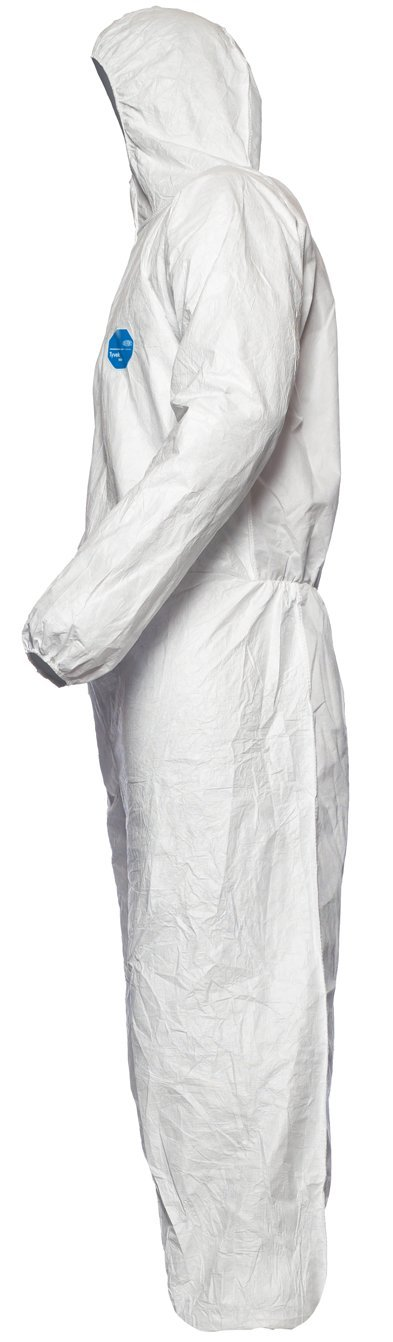 V/êtement de Protection Chimique Type 5 et 6 DuPont Tyvek 400 Dual Taille XXL Cat/égorie III Blanc Devant en Tyvek |Dos en SMS