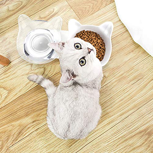 Legendog Cat Food Bowls, Double Cat Bowls Elevated Cat Bowl Raised Cat Bowls, 15° Tilted Elevated Cat Bowls to Protect The Neck for Cat and Small Dog (White&Clear)