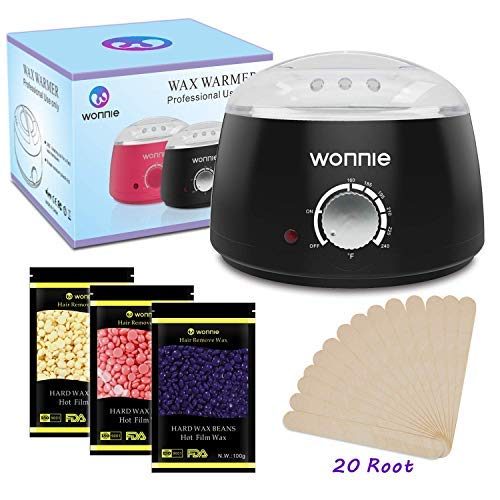 WONNIE Hair Removal Wax Warmer Pot Electric Wax Beans Melts Machine (Black)