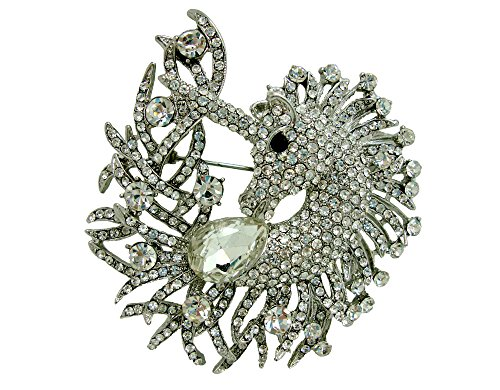 Nouveau Pin Art Brooch (TTjewelry Art Nouveau Unicorn Horse Animal Rhinestone Crystal Pendant Brooch Pin (White))
