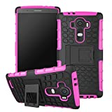 G4 Case, Heavy Duty Tough Rugged Cover Drop Shock High Impact Resistant Shell [Kickstand] [Scratch Proof] Slim Skin for LG G4 (Premiums: 1x Stylus + 1x Screen Protector) -Pink