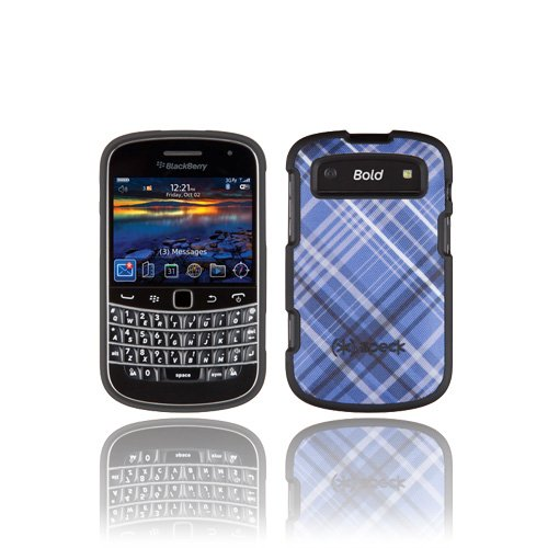 Speck Product Blackberry - Speck RIM9930COVBL Plaid Fitted Case for BlackBerry Bold 9900 & 9930 - Blue