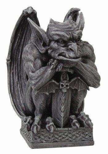 Gargoyle with Shield Statue Cold Cast Resin Figurine