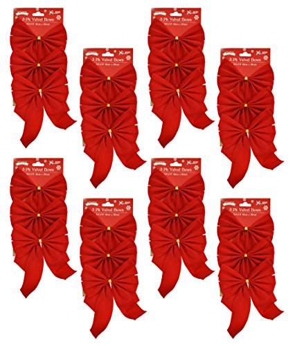 (Set of 24 Red Velvet Festive Holiday Christmas Bows - Perfect as Tree Ornaments - Tree Filler - Decorative Ornaments - Perfect for Preparing for the Holidays!)