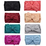 Baby Girl Bow Headbands Newborn Hairband Baby Turban Knotted Elastic Headwrap for Toddler Hair Accessories (AA02-8PCS) (Color: Aa02-8pcs, Tamaño: Free size)