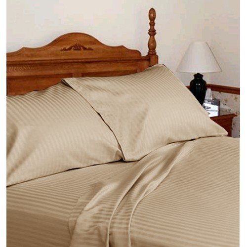 Nice Laxlinen 350 Thread Count 100% Egyptian Cotton Super Quality 1PC Flat Sheet(Top Sheet) Queen Bed Size, Taupe Stripe