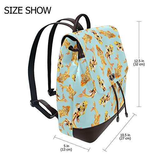 Guldfisk mönster ryggsäck handväska mode PU-läder ryggsäck ledig ryggsäck för kvinnor