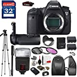 Canon EOS 6D DSLR Camera (BODY ONLY) with TTL Flash, Tripod, Mono-Pod, Battery Grip + Professional Accessory Bundle