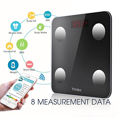 Bluetooth Body Fat Scale -Ymiko Smart Digital Body Weight Bathroom Scale with IOS and Android App BMI Scale for Body Weight, Body Fat, Water, Muscle Mass, BMI, BMR, Bone Mass and Visceral Fat