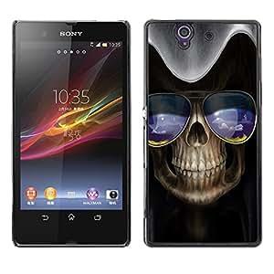 TECHCASE**Cubierta de la caja de protección la piel dura para el ** Sony Xperia Z L36H C6602 C6603 C6606 C6616 ** Skull Sunglasses Art Skeleton Blue Nature
