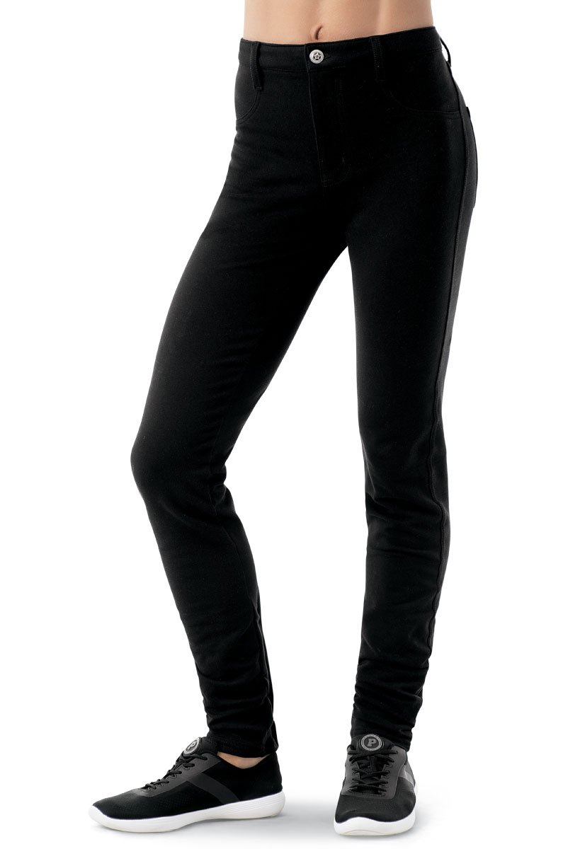 Balera Jeggings Womens Denim Leggings For Dance Girls Pants With Mid Rise Fit and Bright Colors Black Child Large by Balera