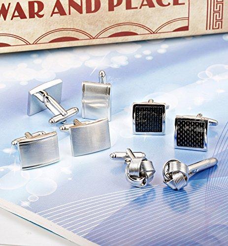 ORAZIO 4 Pairs Cufflinks for Men Cufflink Set for Tuxedo Shirts Business Wedding Silver Tone by ORAZIO (Image #2)