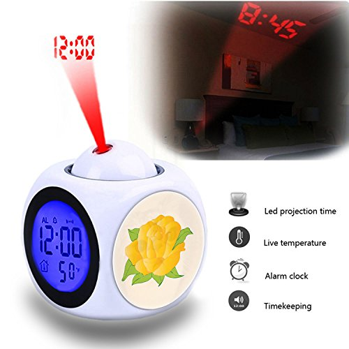 Projection Alarm Clock Wake Up Bedroom with Data and Temperature Display Talking Function, LED Wall/Ceiling Projection,Customize the pattern-583.Golden Rose -