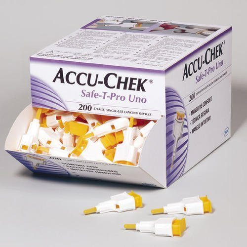 ACCUCHEK SAFE-T Pro UNO 200 Lancets (Single Use Disposal Most Hygenic Lancets)