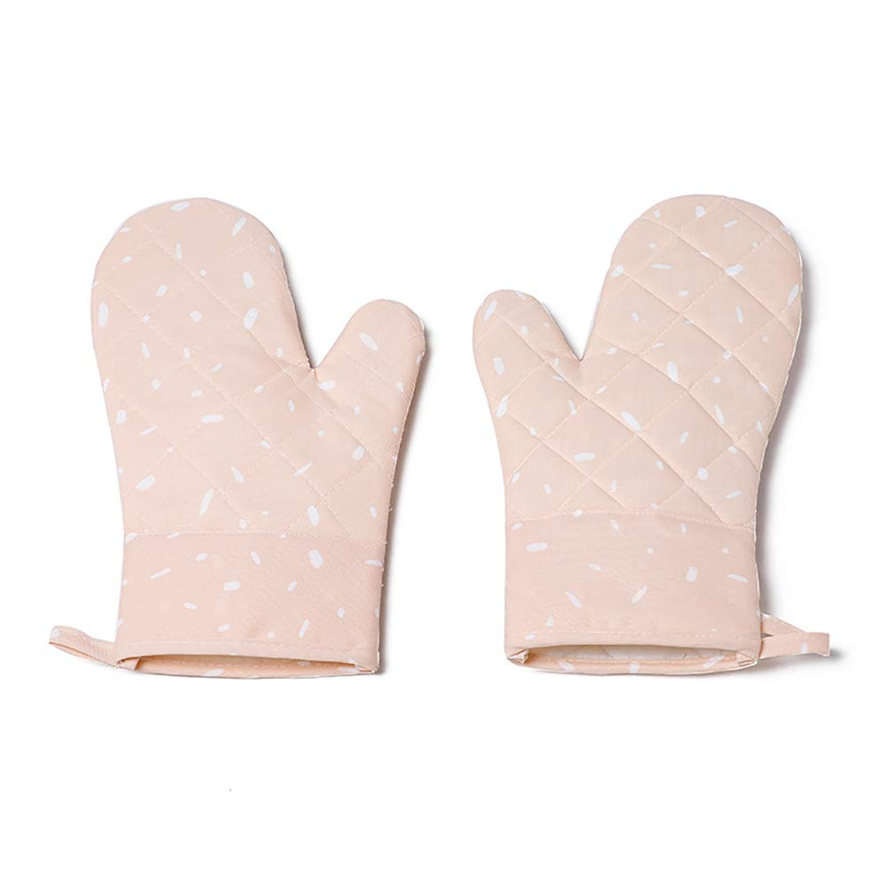 Kookea style Oven Mitts Heat Resistant Silicone Pot Holder Canvas Double Layer Kitchen Non Slip for Microwave (Pink)
