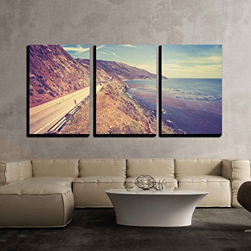 - wall26 - 3 Piece Canvas Wall Art - Vintage Retro Toned Scenic Pacific Coast Highway, California, USA. - Modern Home Decor Stretched and Framed Ready to Hang - 24