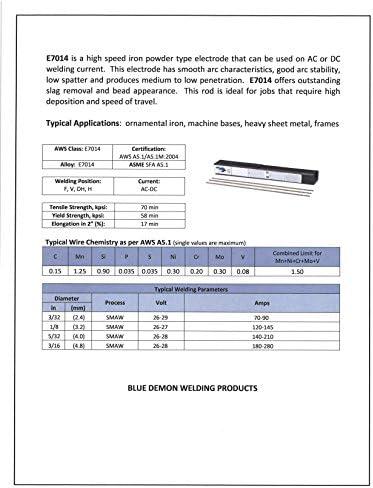 Blue Demon 7014 X 3 32 X 14 X 5lb Plastic Iron Powder Carbon Steel Electrode Brazing Rods Amazon Com