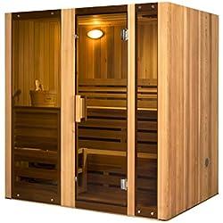 ALEKO STI4HEM Hemlock Indoor Outdoor Wet Dry Two Level Sauna and Steam Room 4.5 kW ETL Certified Heater 4 Person 71 x 51 x 75 Inches