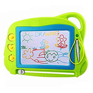 Mini Travel Magnetic Drawing Board, Erasable Sketch Pad Doodle Colorful Scribble Writing Area Educational Learning Toy for Kids / Toddlers with 3 Stamps and 1 Pen (Green)