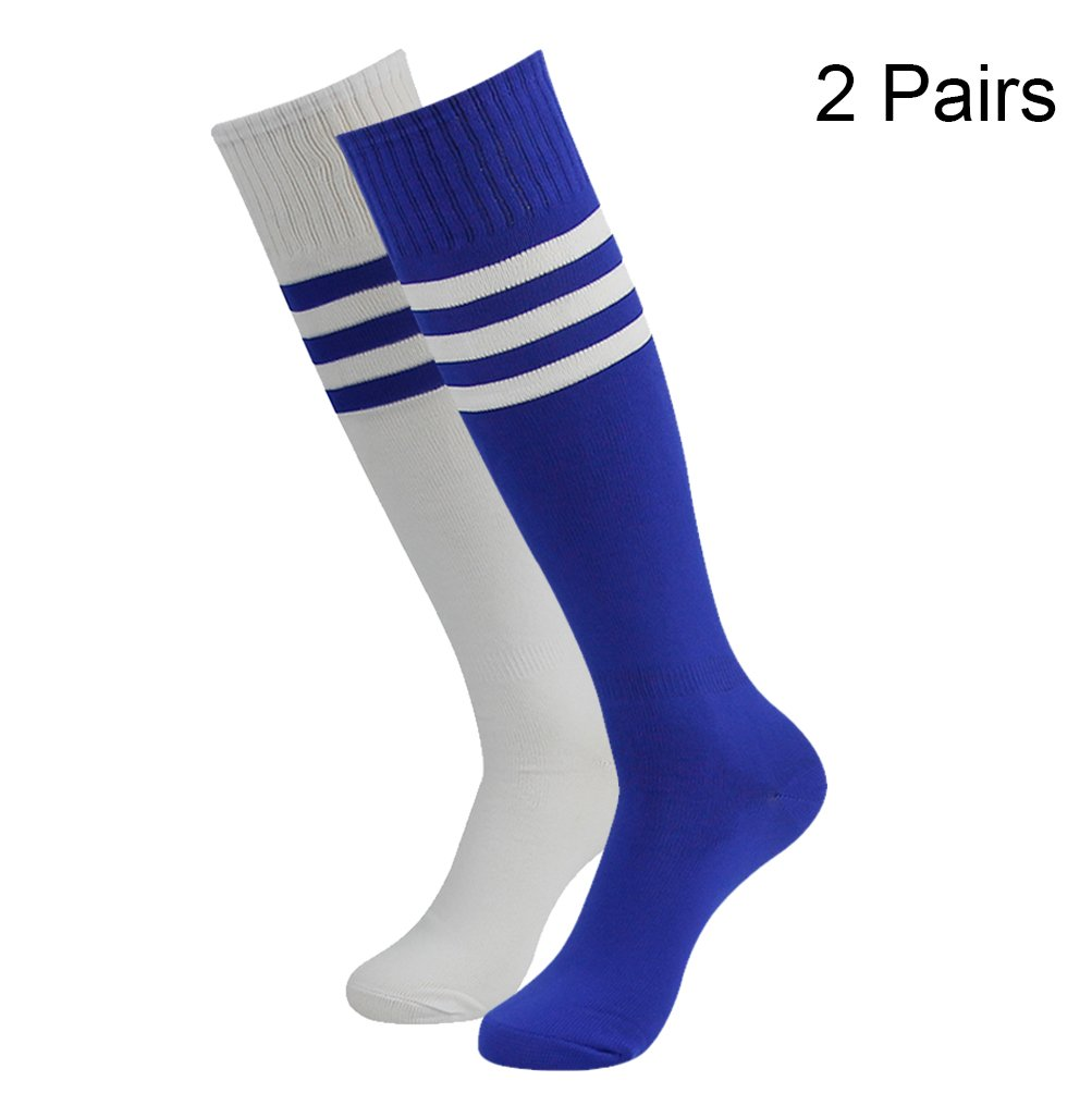FOOTPLUS SOCKSHOSIERY メンズ B077G53G7X 2 Pairs-white+blue Strips& Blue+white Strips 2 Pairs-white+blue Strips& Blue+white Strips