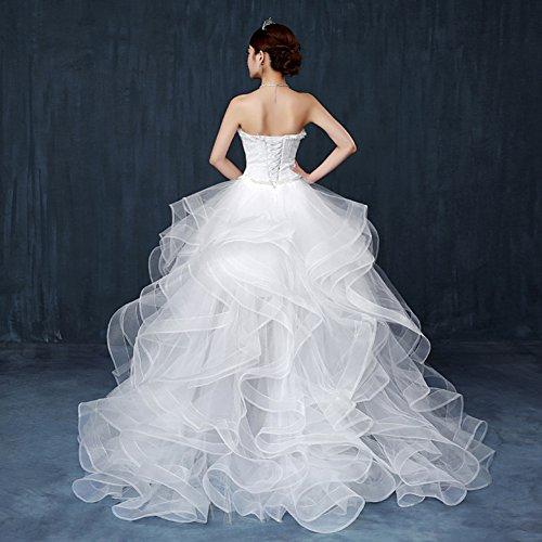 Besswedding Femmes Longues Perles Chérie Sexy Organza Manches Ivoire Robe De Mariée