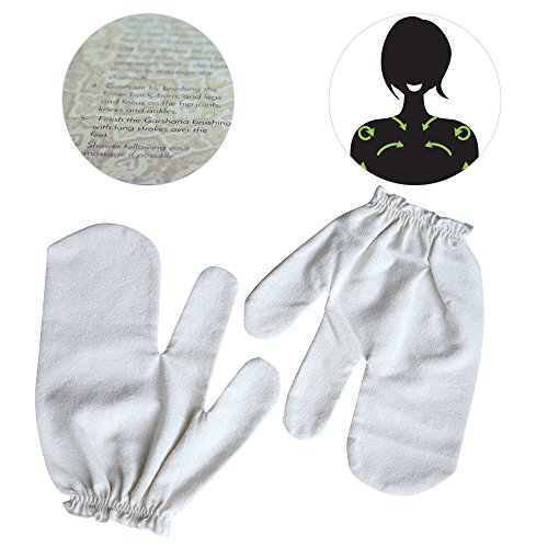 Healm 100% Raw Silk Garshana Gloves | Ayurvedic Massaging Mitts For Women | Dry Massage Brush for Lymphatic Drainage, Acne, Scars, Cellulite & Toxin Removal | Quick, Simple Instructions