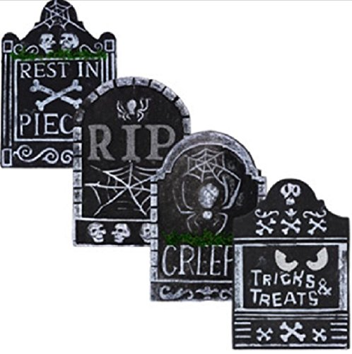 Halloween Graveyard Cemetery Tombstones - Set of 4 Scary, Spooky Polyfoam Tombstone Decorations. Each measures 10¼ inches x 15 (Best Halloween Graveyards)