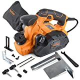 VonHaus 7.5 Amp Electric Wood Hand Planer Kit with 3-1/4 Planing Width and Extra Set of Planer Replacement Wood Blades