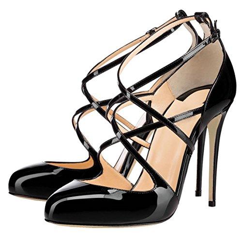 Arc-en-Ciel sandalias de correa redonda del dedo del pie zapatos de charol de las mujeres Negro