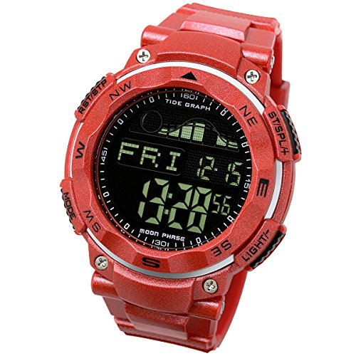 [LAD WEATHER] Tide graph 100 Meters Waterproof Moon phase High & Low tide Pacer Fishing/ Surfing Men's (Tide 20 Sport Watch)