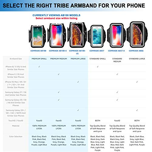 Large Product Image of TRIBE Premium Running Armband & Phone Holder for iPhone X, Xs, Xs Max, Xr, 8, 7, 6, Plus Sizes, Galaxy S9, S8, S7, S9/S8 Plus, Note with Adjustable Elastic Band & Key/Card Slot - 100% Lycra