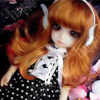 Cap 8-9 1//3 BJD Long Ponytail Red Brown Wig Dollfie LUTS Doll SD DZ DOD Hair