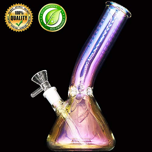 WHTUDEY - 8Inch Pipe Plating Handmade Glass Design - with Ice Frame Fusion Handmade Water Bottle Join 14MM (BSR Bottle)