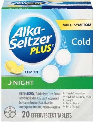 Healing Solutions Alka-Seltzer Plus Night Cold Medicine Lemon Effervescent Tablets (Pack of 2)