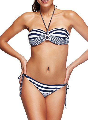 Zando Womens Sexy Pin Up Swimwear Two Pieces Fashion Stripe Halter Bikini Set Hot Blue White Stripe M (US 4-6)