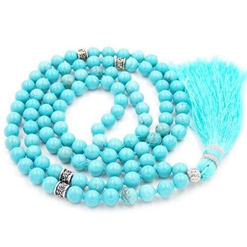 Mala Beads Necklace, Gemstone Mala Bracelet, Buddhist Prayer Beads Necklace, Tassel Necklace, Knotted Necklace (Green Turquoise)