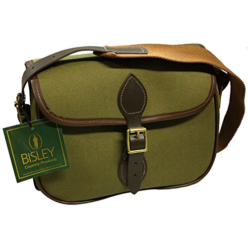 BISLEY cartridge bag 75 capacity Green canvas bag leather and brass fittings