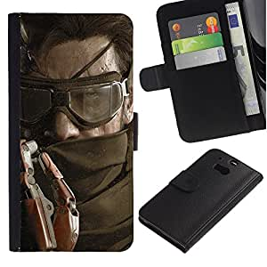 YiPhone /// Tirón de la caja Cartera de cuero con ranuras para tarjetas - Solid Snake - HTC One M8