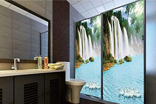 Horrisophie dodo No Glue Static Cling Glass Sticker,Waterfall,Image of a Grand Waterfall with Swans in The Lake Sunny Day Nature Print,Blue Green White,39.37