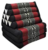 Thai mattress 3 folds with triangle cushion, black/red, relaxation, beach, pool, meditation garden (81603)