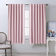 NICETOWN Rod Pocket Curtain Draperies - Set of Two (2) Thermal Insulated Light Blocking Back Tab Curtain Panels - 52 Inch by 63 Inch in Baby Pink