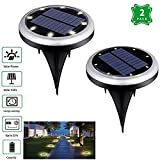 WIOR Solar Powered Security Light, 8 LED Pathway Garden Lights, Outdoor Waterproof Ground Lamps for Lawn, Deck, Yard, Driveway, Street, Fence etc (2 PCS)