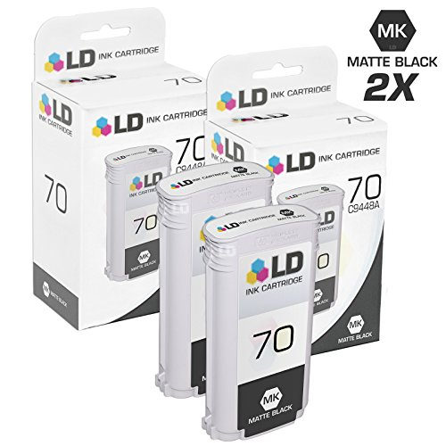 - LD Remanufactured Ink Cartridge Replacement for HP 70 C9448A (Matte Black, 2-Pack)