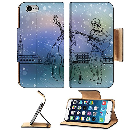 [Luxlady Premium Apple iPhone 6 iPhone 6S Flip Pu Leather Wallet Case IMAGE ID: 34459894 Christmas street performers in a snowy] (Group Girl Costumes Ideas)