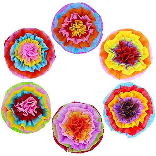 Supla 6 Pcs Fiesta Tissue Paper Flowers Pom Poms Ball Tissue Paper Pom Poms Flowers 15.4 in Diam for Birthday Wedding Fiesta Cinco De Mayo Mexican Rainbow Theme Party