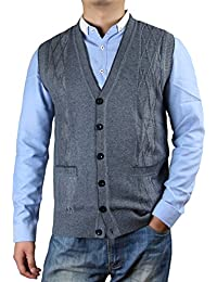 Men's Solid Color Argyle Pattern Button Down Sweater Vest with Pockets