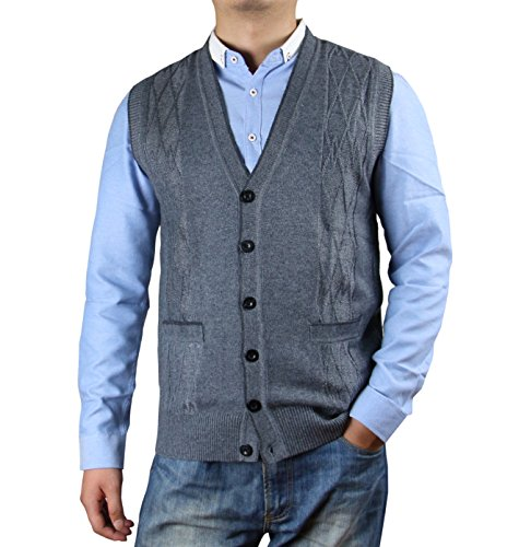 ZERDOCEAN Men's Solid Color Button Down Sweater Vest Cardigan With Pockets Medium Gray XL