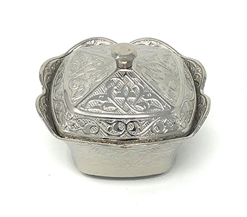High Polish Square Antique Style Plated Heavy Engraved Sugar Candy Bowl by Interway Trading