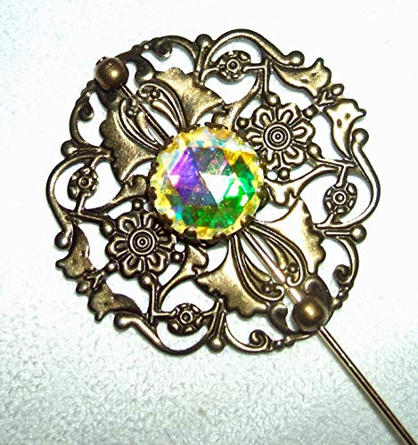 (FILIGREE Stick Hat Pin CZECH GLASS Color Changing Stone Long Hatpin Gold Plt )